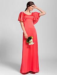 Vestido de Dama de Honor - Sandía Corte Recto Escote A la Base - Hasta el Suelo Gasa Satinada