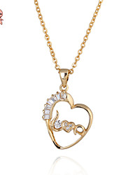 KuNiu Women's New Fashion 18K Gold Plated LOVE Letter Heart Pendant Necklace D0017