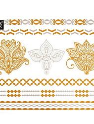 1Pc Gold and Silver Bracelet Waterproof Tattoo Sticker 15x11.5CM
