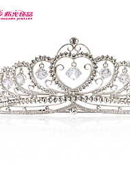Neoglory Jewelry Heart Tiara Crown with Clear Austrian Rhinestone Zirconia for Lady's Wedding Pageant/Party