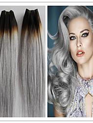 3pcs / lot brasileños gris platino recta del pelo humano paquetes armadura virginal del pelo extensiones de cabello gris plata