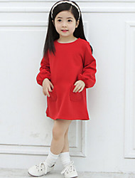 Girl's Minimalist Style Long-Sleeved Dress