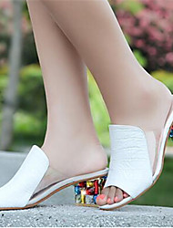 Women's Shoes Chunky Heel Peep Toe Fashion Sneakers Dress White