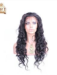 """10 """"-26"""" sin cola peluca del frente del cordón de la onda natural de Malasia del color natural del pelo virginal del pelo del bebé negro"""
