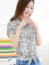 Women's Fashion Vintage Grid Lapel Short Sleeve Casual T-shirt