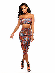 Women's Print Multi-color T-shirt , Sexy/Bodycon/Casual Strapless Sleeveless Backless