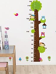 наклейки для стен наклейки для стен, милые красочные ПВХ съемных высотные мультфильм наклейки дерево стены.