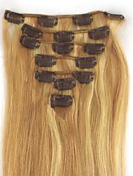 7pcs 70g 100% réel tête pleine remy hair clip humaine dans les extensions # 18/613 blond miel avec l'eau de Javel blond soyeux