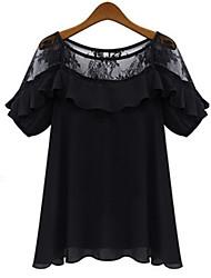Kaman Women's Casual/Work Round Short Sleeve Tops & Blouses (Chiffon/Lace)