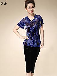 Women's T-shirt , Silk/Others/Vicose Short Sleeve