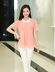 Women's Formal Simple Summer Blouse,Patchwork Shirt Collar Short Sleeve Blue / Pink / Red / Green Thin