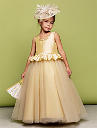 Lanting Bride Ball Gown Floor-length Flower Girl Dress - Taffeta / Tulle Sleeveless Jewel with