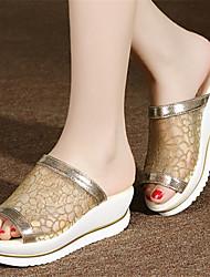 Women's Shoes Wedge Heel Open Toe Slippers Dress Silver/Gold
