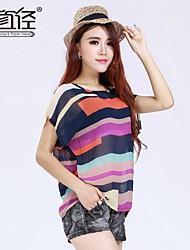 de las mujeres más tamaño XXXL de múltiples colores de impresión de manga corta o-cuello flojo ocasional de la gasa camisetas