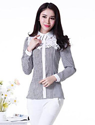 Women's Casual/Daily Simple Summer Shirt,Striped Shirt Collar Long Sleeve White Cotton Medium