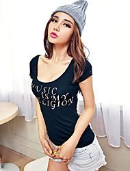 U-hals - Biologisch katoen - Bloem - Vrouwen - T-shirt - Korte mouw