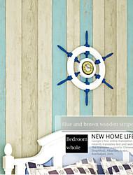 bandes de papier méditerranéenne contemporaine conceptions en bois bleu et brun revêtements muraux art non-tissé mur de papier