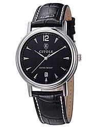 CITOLE Men's Fashion Dress Watch Simple Style Dial Leather Band Quartz Watch