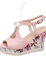 Women's Shoes Patent  Wedge Heel Peep Toe/Platform/Round Toe Sandals Office & Career/Casual Green/Pink/