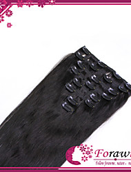 """100g/lot 16""""-22"""" Clip In Human Hair Extensions #1 Jet Black Straight 8pcs/set Clip Hair Pieces"""
