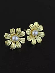 Sterling silver only beautiful flowers Natural freshwater pearl earrings
