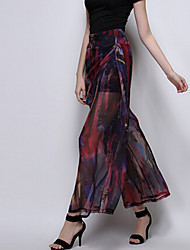 TS Women's Casual Inelastic Print High Waist Vintage Thin Wide Leg Pants (Chiffon)