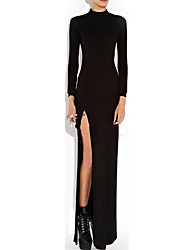Women's Backless Sexy Bodycon Casual Party Maxi Plus Sizes Micro-elastic Long Sleeve Maxi Dress (Cotton)