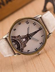 Женские Модные часы Повседневные часы Кварцевый Кожа Группа Эйфелева башня Черный Белый Синий Красный Коричневый Зеленый Розовый Желтый