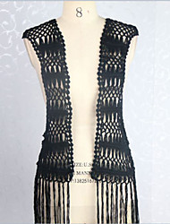 Women's Black/White Knitting Sleeveless Fringed Cardigan