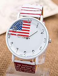 Brand New Casual Ladies Watch Quartz Watch Strap Dial Glass Prominent American Flag Design European and American Style