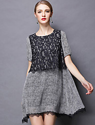 Women's summer wear the new big yards increased fertilizer show thin lace short-sleeved dress