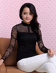 Mulheres Blusa Colarinho Chinês Manga Longa Renda Renda/Algodão Mulheres