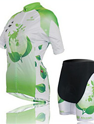 Green Short Sleeved Jersey Lady Suit, Breathable Quick Dry Women's Bicycle Service