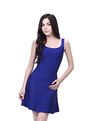 Dress A-line Spaghetti Straps Short/Mini Spandex/Nylon Taffeta/Rayon Bandage Dress
