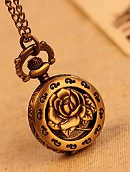 bolsillo antiguo reloj de la vendimia collar pequeña flor hueca caso de bronce relojes steampunk moda