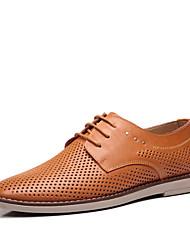 MH Men's Shoes Black/Brown/Khaki Flat Heel Sandals (Leather)