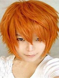 The New Cartoon Color Wig Orange Face  Short Straight Hair Wigs