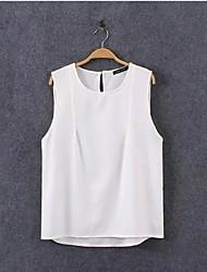 Women's Fashion Korea Casual Inelastic Sleeveless Regular T-shirt (Chiffon)