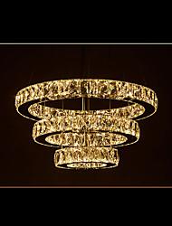 LED Crystal Pendant Lights Modern Lighting Warm White Three Rings D406080 K9 Large Crystal Hotel Ceiling Light