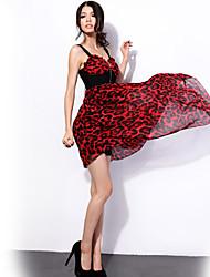 Ya Zhe Women'S Leopard Dress Irregular Dovetail Skirt Dress Dynamic