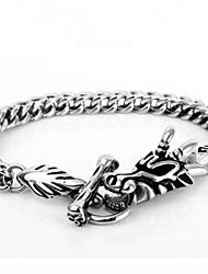 Per uomo Bracciali a catena e maglie Bracciali d'epoca Di tendenza Personalizzato Acciaio inossidabile A forma di teschio Drago Gioielli