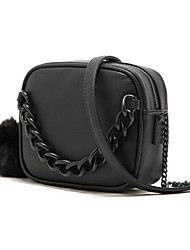Women's  Black wool ball chain handbag one shoulder
