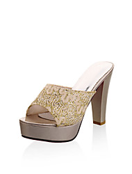 Women's Shoes Chunky Heel Pointed Toe Sandals Dress Black/Silver/Gold