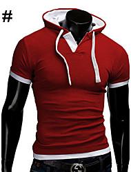 T-Shirts ( Algodão/Roupa de Malha ) MEN - Casual/Trabalho Manga Curta