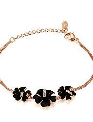 T&C Women's Triple Black Flower Dual-Chain Bracelet 18K Rose Gold Plated Clear Crystal Triple Black Flower Jewelry