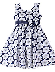 Girls Flower Print Bow Party Birthday Children Clothing Lovely  Dresses (100% Cotton)