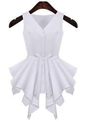 Women's Sexy Casual Cute Plus Sizes Micro Elastic Sleeveless Regular Shirt (Cotton/Linen)