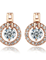 HKTC Wedding Jewelry 18k Rose Gold Plated 1 Carat Cz Simulated Diamond Circle Stud Earrings