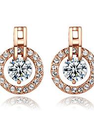 Brincos Curtos Brincos em Argola Zircônia Cubica imitação de diamante Liga Formato Circular Jóias Para 2pçs