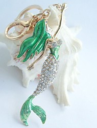 Green Fish Mermaid Key Chain Pendant With Clear Rhinestone Crystal